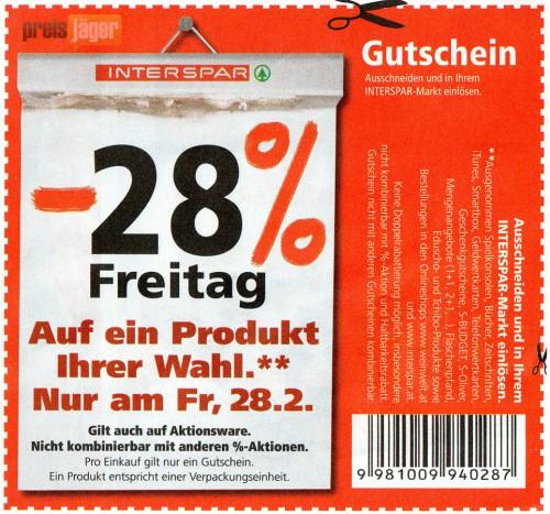 Super: 28% Rabatt bei Interspar - nur am heutigen 28. Februar