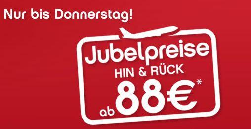 Jubelpreise bei AirBerlin und FlyNiki - europaweite Hin- und Rückflüge ab 78€