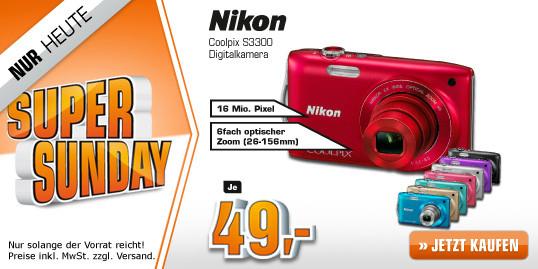 Einsteigerkamera Nikon Coolpix S3300 für 49 Euro