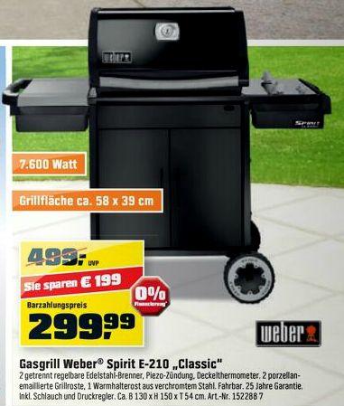 Weber Spirit E-210 Classic Gasgrill ab 263,99€ - bis zu 33% Ersparnis