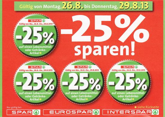 Gutscheinaktion bei Spar: 25% Rabatt auf Lebensmittel und Getränke - mit Aufklebern *Update*