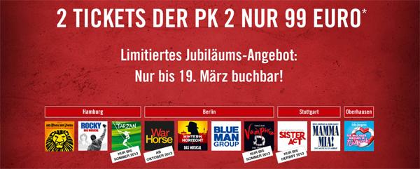 Günstige Musical-Tickets bei Stage - 2 Tickets für ~ 125 € - nur heute und morgen buchbar!