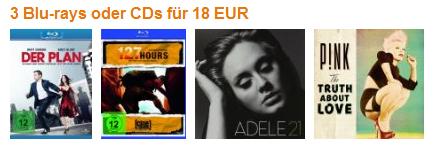 Amazon vs. Saturn: 3 Blu-rays oder CDs für zusammen 18 € kaufen