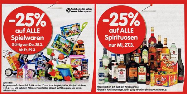 Rabattaktionen bei Interspar - z.B. 25% Rabatt auf Spielwaren am Donnerstag und Freitag