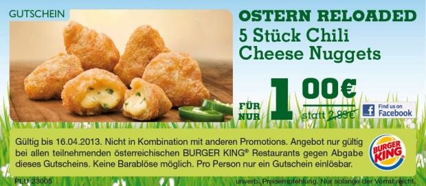 Gutschein für 5 Chili Cheese Nuggets für 1 € bei Burger King Österreich
