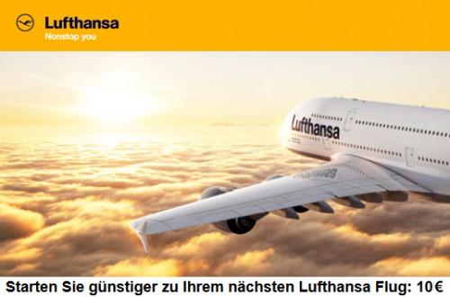 10 Euro Lufthansa Gutschein für Abflüge aus Deutschland