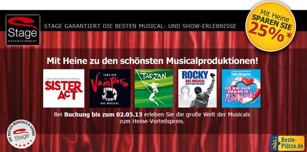 Musicals von Stage mit 25% Rabatt bei Heine buchen
