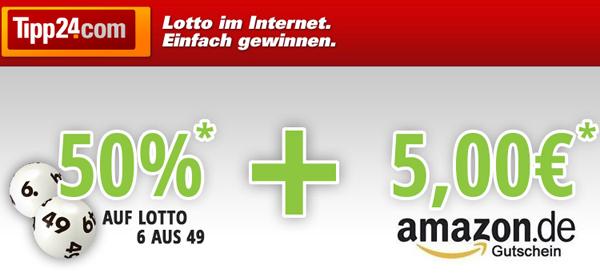 Tipp24: Lotto-Spielen ab 1,25 € und 5 € Amazon-Gutschein für Neukunden *Update* wieder möglich