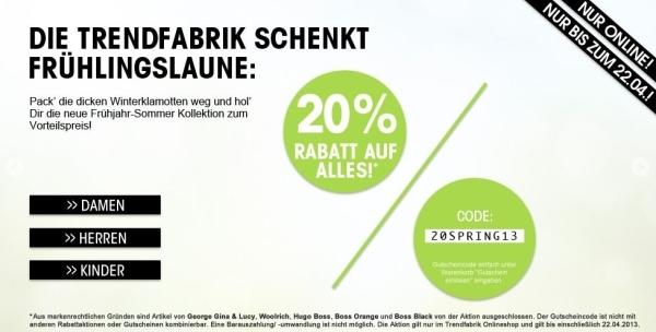Sale bei Trendfabrik: Bis zu -70% + 20% Rabatt durch einen Gutschein