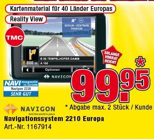 Navigationssystem Navigon 2210 Europa für 99,95€ @Promarkt