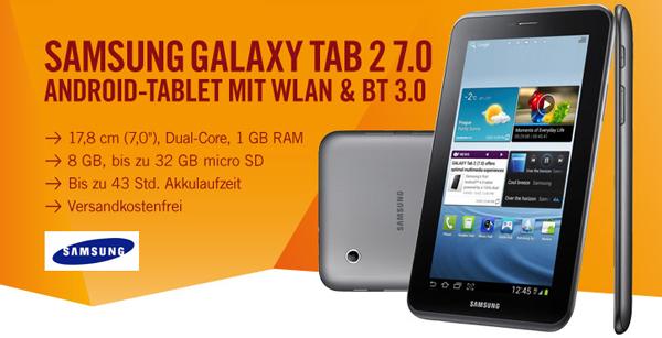 Samsung Galaxy Tab 2 (7 Zoll, 8 GB, WiFi) für 129 € bei Cyberport - 15% Ersparnis