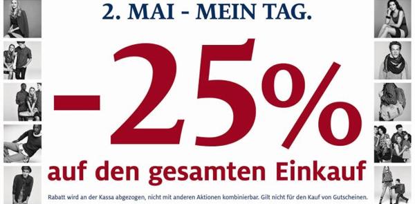 C&A Österreich: 25% Rabatt auf das gesamte Sortiment in den Filialen - nur heute!