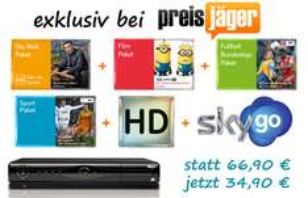 Exklusives Sky-Angebot: alle Sky-Pakete + HD-Sender + HD-Multifeeds + Sky Go + HD-Festplattenreceiver für 34,90 €/Monat