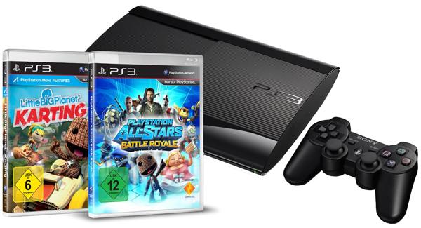 PS3 SuperSlim (500 GB) + LBP Karting + Battle Royale für 249 € + 20 € Rabatt auf ein Spiel