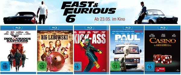 Amazon: 2 ausgewählte Blu-rays kaufen und Kinoticket für Fast & Furious 6 gratis bekommen