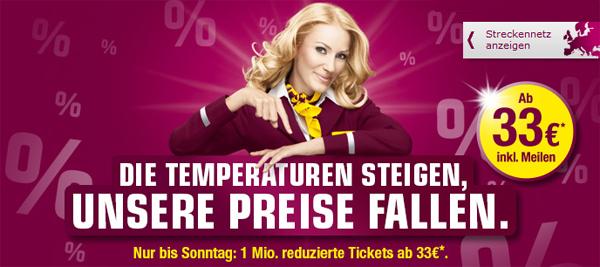 1 Million reduzierte One-Way-Tickets bei Germanwings ab 33 €  - nur bis Sonntag