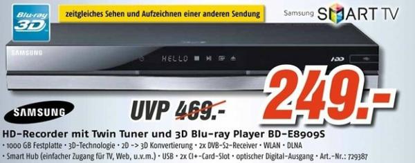 Samsung BD-E8909S - HD-Rekorder mit Twin-Tuner und 3D Blu-ray-Player für 249 € - 24% sparen