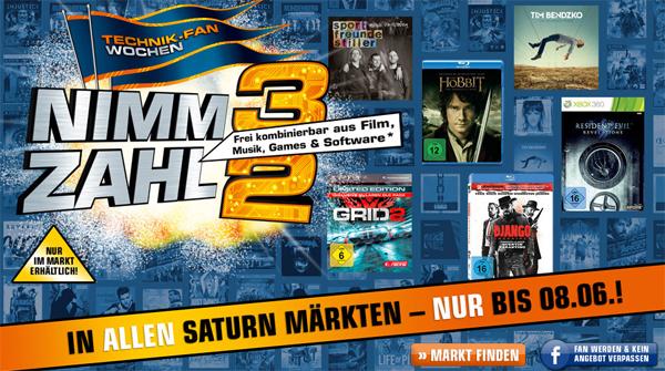 Amazon vs. Saturn: 3 Artikel aus dem Medienbereich kaufen, nur 2 bezahlen