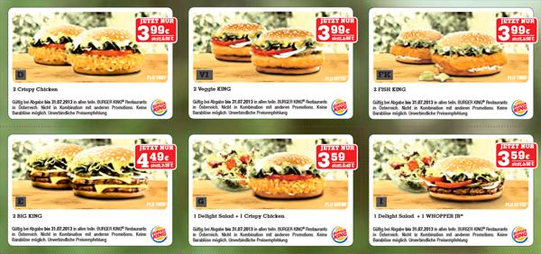 Burger King Österreich: Neues Gutscheinheft mit Rabatten von bis zu 50%