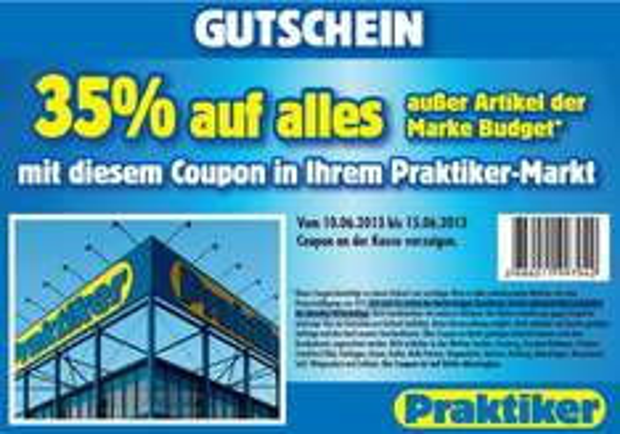 Genial! 35% Gutschein bei Praktiker auf (fast) alles + zusätzlich 10% bei Hornbach oder 12% bei Bauhaus