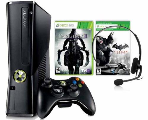 Xbox 360 Slim (250 GB) + Batman: Arkham City + Darksiders II für 149 € & 20 € Rabatt auf ein Spiel