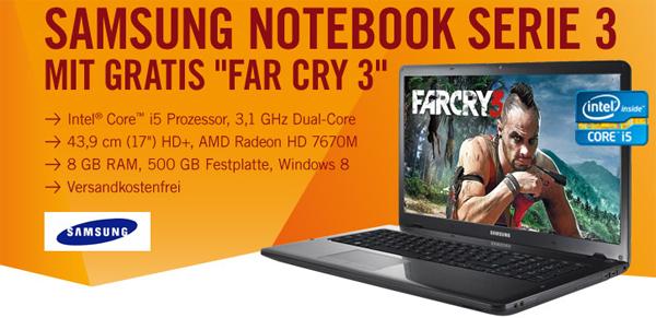 "Super! Samsung Serie 3 350E7C (17"", Core-i5, 8 GB RAM) + Far Cry 3 für 429 € - 29% sparen"