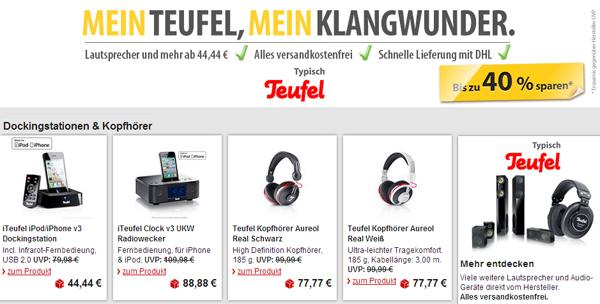 Teufel-Sale mit guten Rabatten bei MeinPaket und zusätzlich 9% sparen mit Gutschein