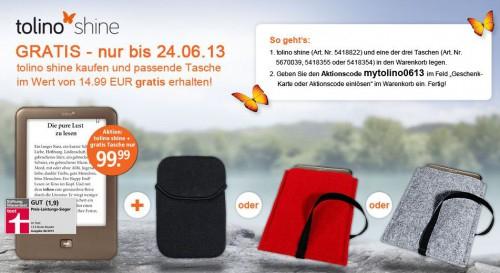 eBook-Reader Tolino Shine für 99,99 € + Tasche im Wert von 15 € gratis - 12% Ersparnis gegenüber Einzelkauf