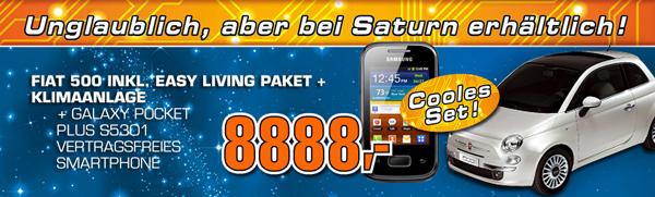 Saturn: Stadtauto Fiat 500 mit Klimaanlage und Easy Living-Paket für 8888 €