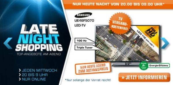 Saturn Late Night Shopping ab 20 Uhr - z.B. mit Samsung UE46F5070 (46'', Full HD, Triple-Tuner)