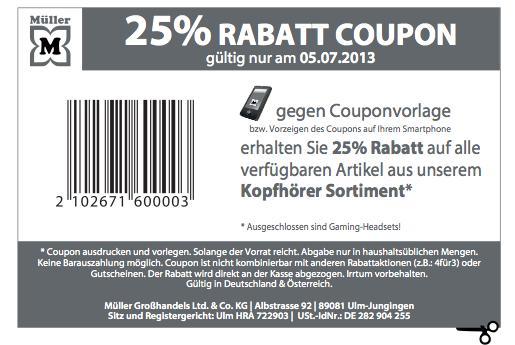 Nur heute: Rabattaktion bei Müller - 25% auf alle lagernden Kopfhörer
