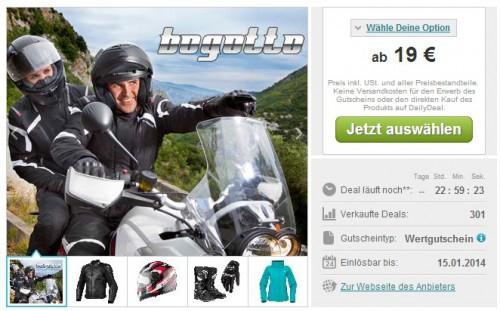 bogotto.de Wertgutscheine für Motorrad-Zubehör: 100 Euro für 44 Euro oder 50 Euro für 19 Euro