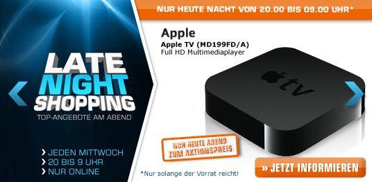 Noch bis 9 Uhr: Saturn Late Night Shopping ab 20 Uhr z.B. mit Apple TV MD199FD/A