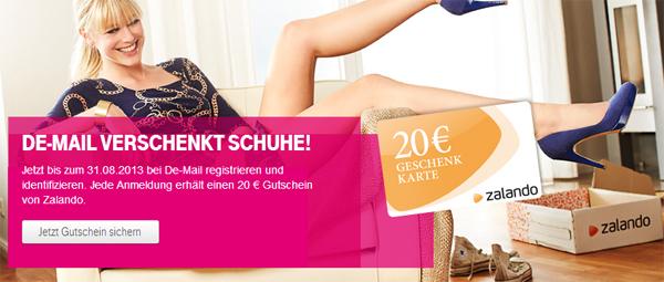 Telekom: 20 € Zalando-Gutschein für Registrierung einer kostenlosen DE-Mail-Adresse *Update*