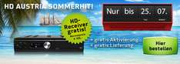 Sommeraktion bei HD Austria: HD-Receiver, Aktivierung und Versand gratis bei Abschluss von Kombi Austria