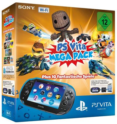 PlayStation Vita (WiFi) Mega Pack mit 10 Spielen + 8 GB Speicherkarte für 199 €