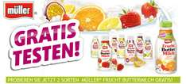 2 Sorten Müller Frucht Buttermilch komplett kostenlos ausprobieren dank 100% Cashback