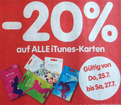 20% Rabatt auf iTunes-Karten bei Interspar - ab Donnerstag gültig
