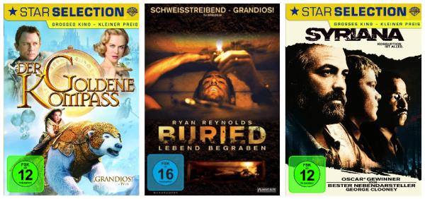 Neue Film-Aktion bei Amazon: 3 Blu-rays für 22 € oder 6 DVDs für 20 €