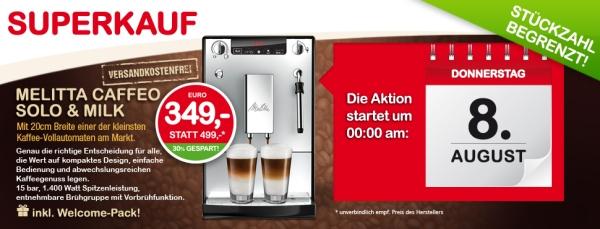 Heute ab 00:00 Uhr: Kaffee-Vollautomat Melitta Caffeo Solo & Milk + Welcome-Pack bei Interspar für 349 € - 13% Ersparnis