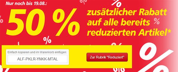 Real: 50% Zusatzrabatt auf bereits reduzierte Ware im Online-Shop
