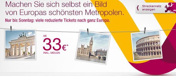 Flugschnäppchen: europaweite One-Way-Flüge ab 33 € bei Germanwings