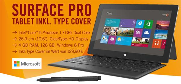 Microsoft Surface Pro (128 GB, Windows 8) + Type Cover für 885 € statt 1035 €
