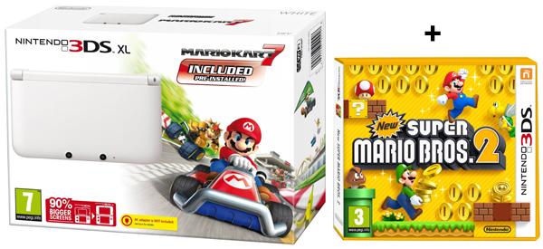 Nintendo 3DS XL + Mario Kart 7 + New Super Mario Bros. 2 für 207 € - 15% Ersparnis