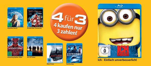 4 Blu-rays für 30 € bei Müller und Konter von Amazon