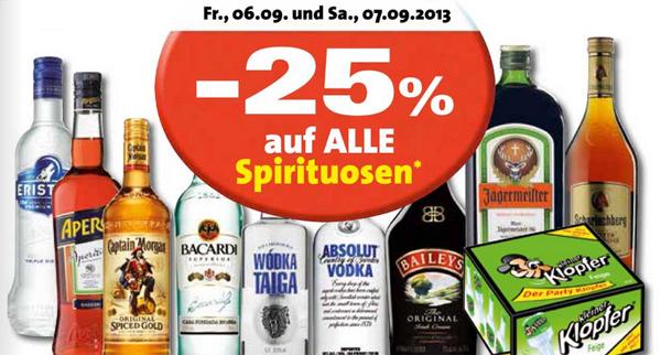 25% Rabatt auf alle Spirituosen bei Eurospar und Interspar - am Freitag und Samstag