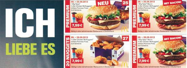 Neues Gutscheinheft für McDonald's Deutschland – vom 09. bis 29. September gültig