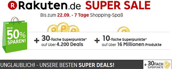 Rakuten Super Sale - 30-fache Punkte auf zahlreiche Artikel und stündlich neue Deals