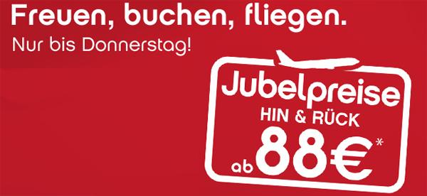 Flugschnäppchen bei AirBerlin und FlyNiki - europaweite Hin- und Rückflüge ab 88 €