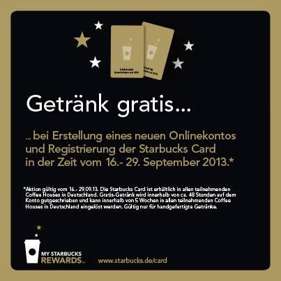 Starbucks Deutschland: kostenlose Kundenkarte registrieren und Freigetränk sichern